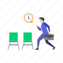 businessman in hurry, late at work, late businessman, late employee, to be late icon