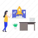 beginning, business launch management, business startup management, commencement management, initiation icon