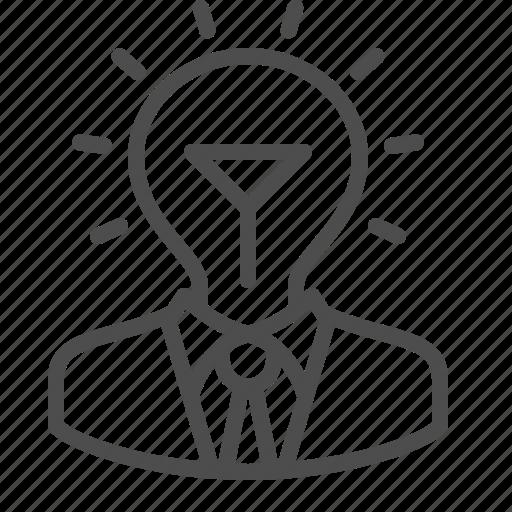 creativity, idea, inspiration, light bulb, man, suit, thinking icon