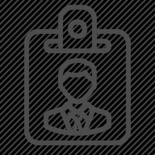 businessman, id card, identification, man, name tag icon
