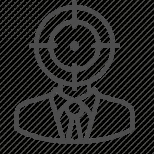 businessman, crosshairs, man, target, thinking icon