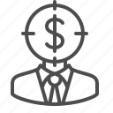 businessman, crosshairs, dollar, man, money, target, thinking icon