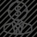 businessman, crosshairs, dollar, man, money, target, thinking