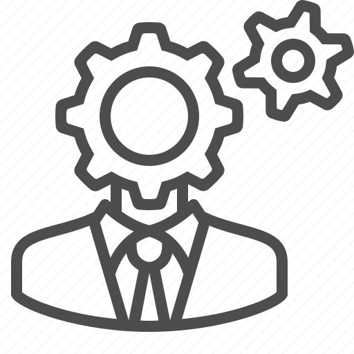 businessman, cogs, gears, man, thinking icon