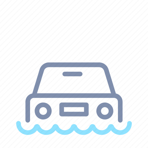 car, flood, flooding, force majeure, insurance, transportation, vehicle icon