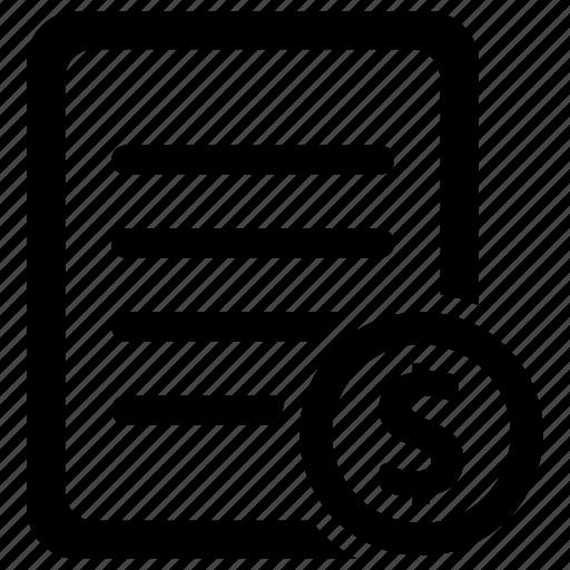 bill, invoice, receipt, sales icon