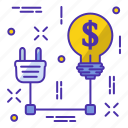 bulb, business, connect, marketing, money, start icon