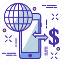 device, dollar, earth, globe, internet, onlinepay, phone icon