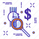 clock, dollar, find, in, search, watch icon