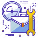 bag, clock, officewark, setting, watch icon