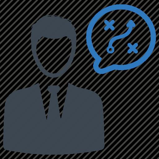 businessman, planning, strategy, thinking icon