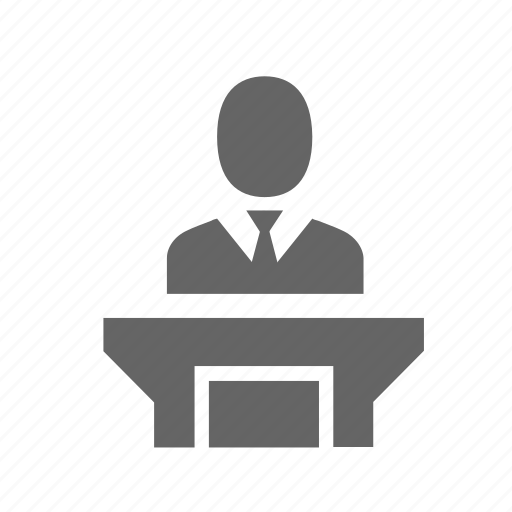 conference, instructor, podium, presentation, seminar, speaker, speech icon