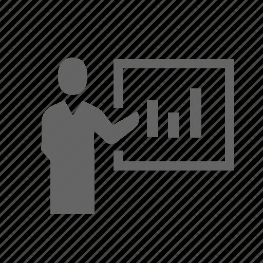 business, diagram, graph, office, resume, speaker, speech icon