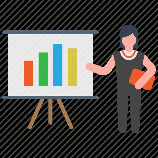 Business, businesswoman, chart, presentation icon - Download on Iconfinder