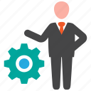 business, businessman, gear, strategy icon