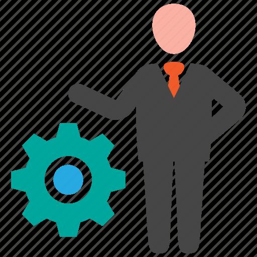 business, businessman, gear, strategy icon