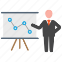 analytics, business, presentation icon