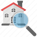 estate search, finding house, finding property, house search, property search icon
