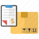 delivery check, delivery invoice, order receipt, package invoice, parcel payment icon