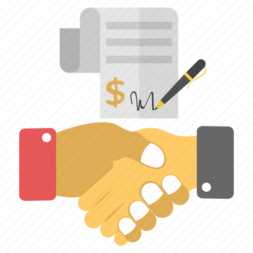business agreement, business contract, mutual agreement, partnership, purchase contract, sales contract icon