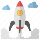 new business, new venture, rocket, space rocket, startup icon