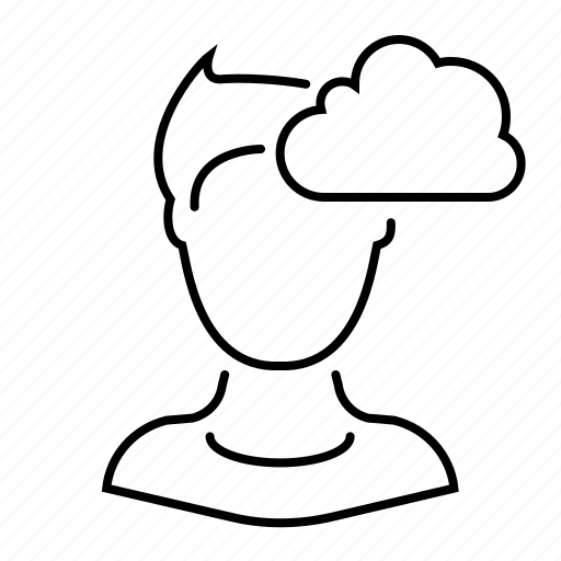cloud, man, thinking, user icon