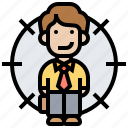 employee, headhunter, recruitment, resources, target icon