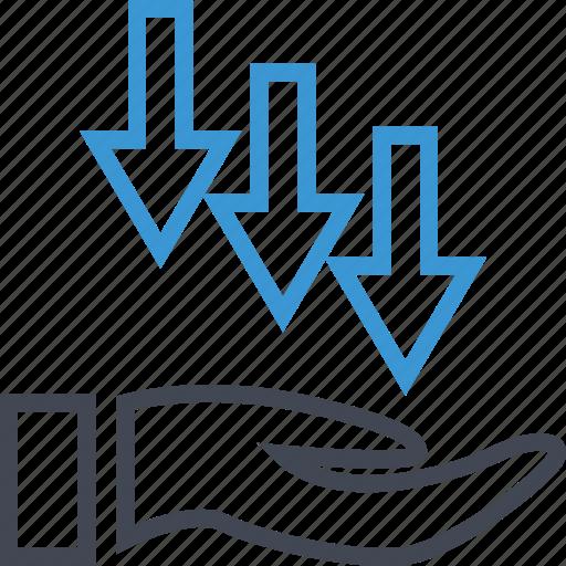 arrows, down, load, revenue icon
