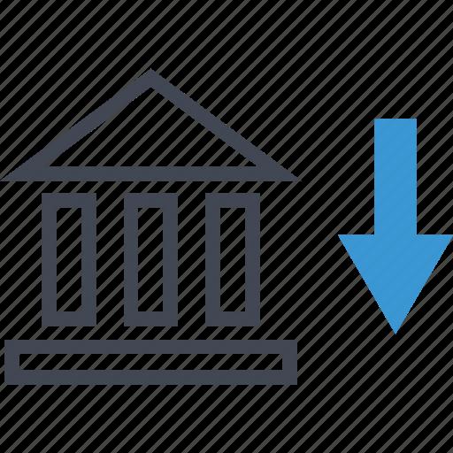 arrow, bank, banking icon