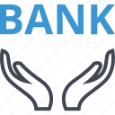 bank, banking, hands icon
