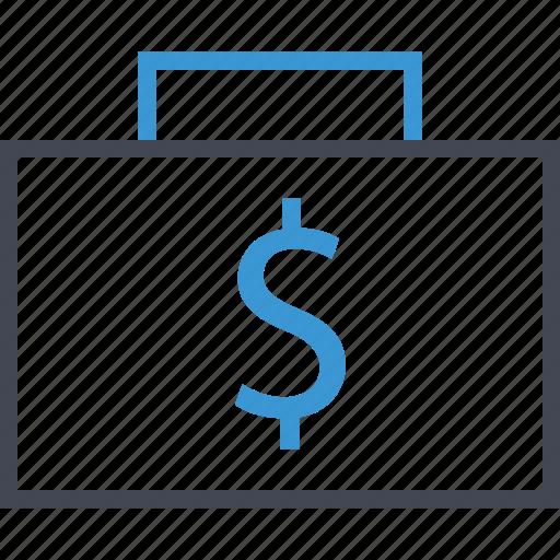 briefcase, dollar, money, sign icon