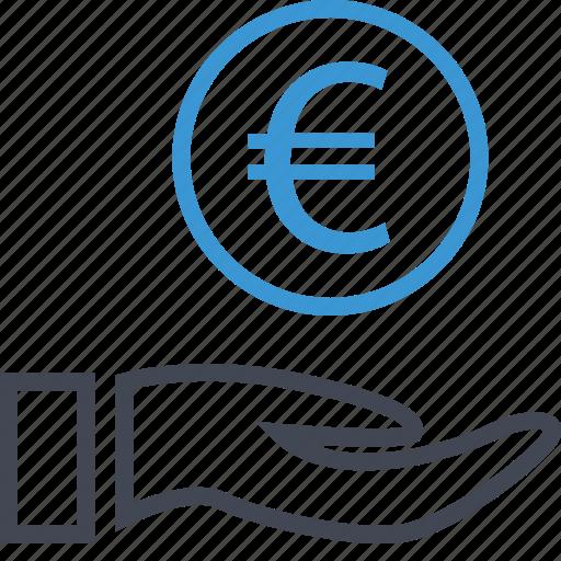 coin, euro, hand icon