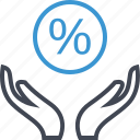 hand, hands, percentage icon