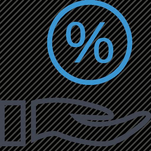 hand, hands, percent, percentage icon