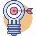idea, idea marketing, light bulb, marketing idea, target icon