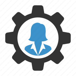 business, cog, control, process, settings, support, woman icon