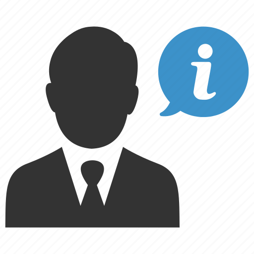 bubble, businessman, help, info, information, person, support icon