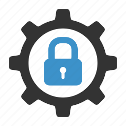 cog, configuration, lock, process, security, settings icon