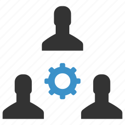 cog, gear, management, men, process, support, teamwork icon
