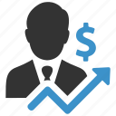 analytics, arrow, businessman, dollar, finance, growth, money icon