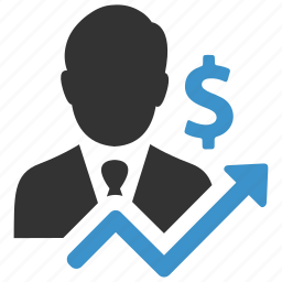 analytics, arrow, businessman, dollar, finance, growth, money icon