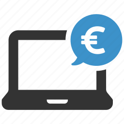computer, euro, finance, funds, laptop, money, payment icon