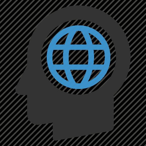 browser, global, globe, head, internet, web, website icon