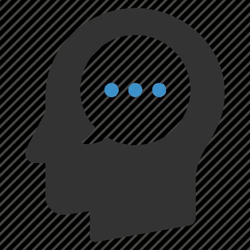 bubble, head, idea, man, message, talk, thinking icon
