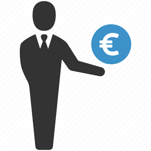 business man, earnings, euro, finance, income, money, salary icon