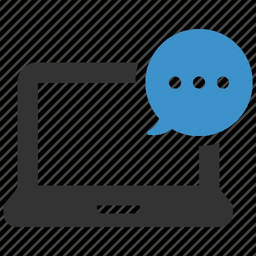 bubble, chat, computer, laptop, message, send, talk icon