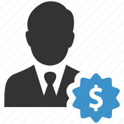 badge, business man, currency, dollar, finance, money, promotion icon
