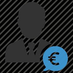 business man, euro, finance, income, money, salesman icon