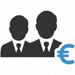 business men, earnings, euro, income, money, profit, salesmen icon