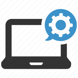 cog, computer, device, laptop, options, process, settings icon
